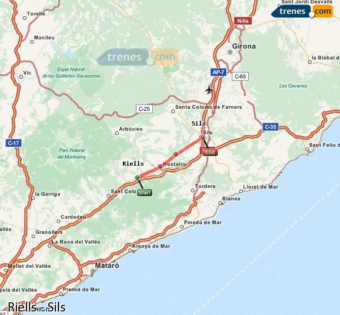Enlarge map Trains Riells to Sils