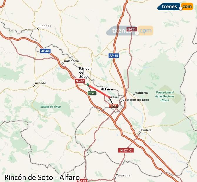 Enlarge map Trains Rincón de Soto to Alfaro