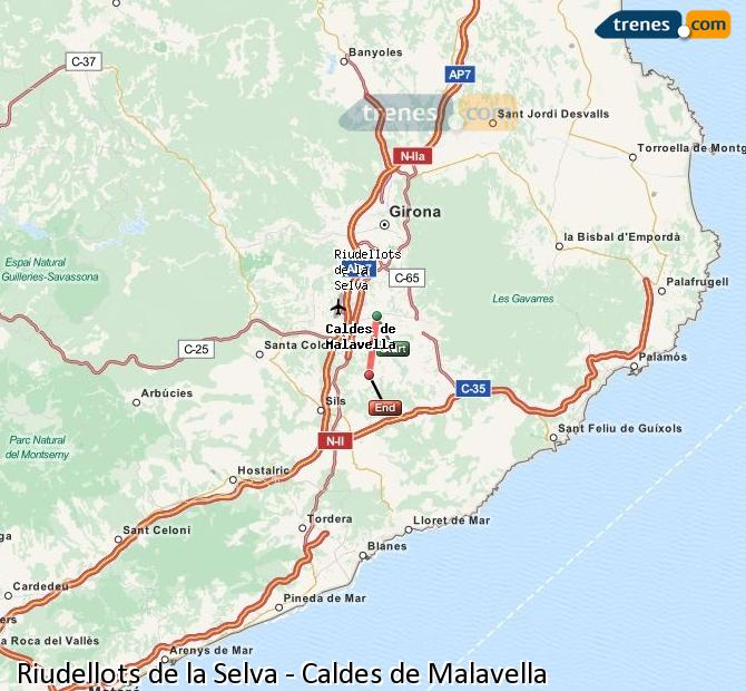 Ingrandisci la mappa Treni Riudellots de la Selva Caldes de Malavella