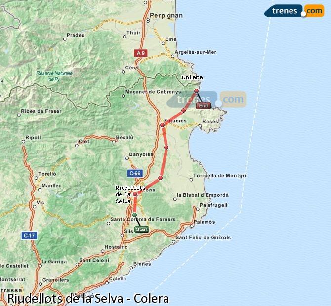 Enlarge map Trains Riudellots de la Selva to Colera
