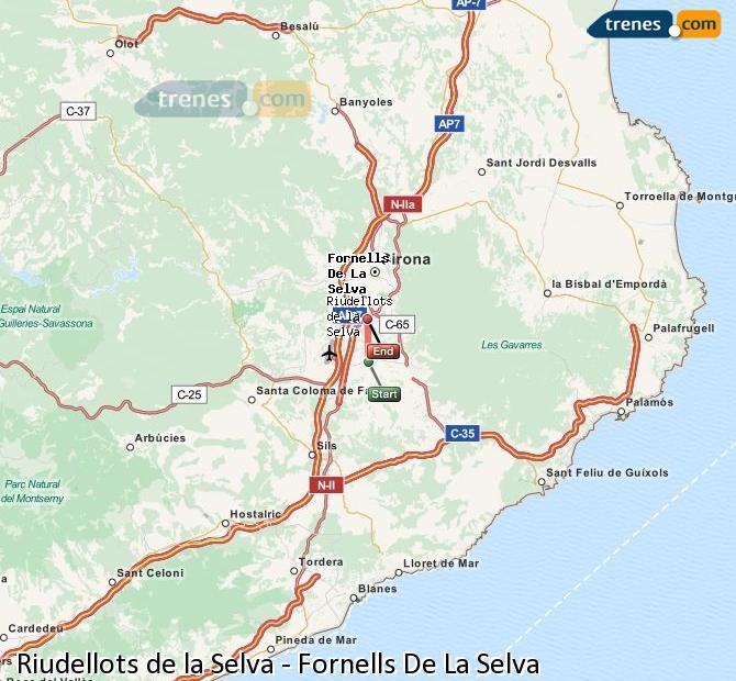 Agrandir la carte Trains Riudellots de la Selva Fornells De La Selva