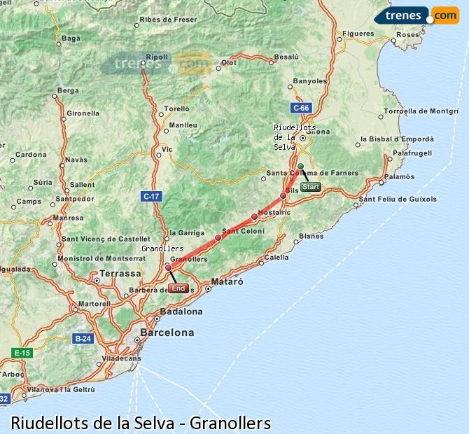 Ingrandisci la mappa Treni Riudellots de la Selva Granollers