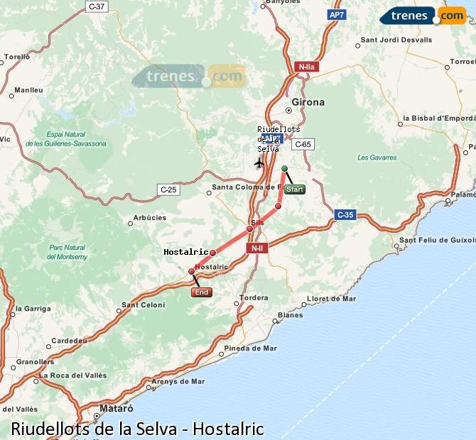 Ingrandisci la mappa Treni Riudellots de la Selva Hostalric