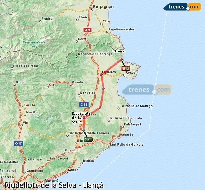 Karte vergrößern Züge Riudellots de la Selva Llançà