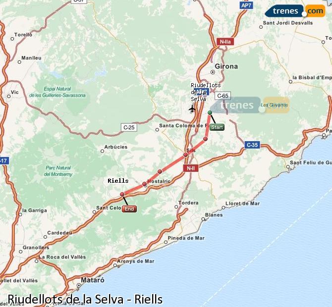 Enlarge map Trains Riudellots de la Selva to Riells