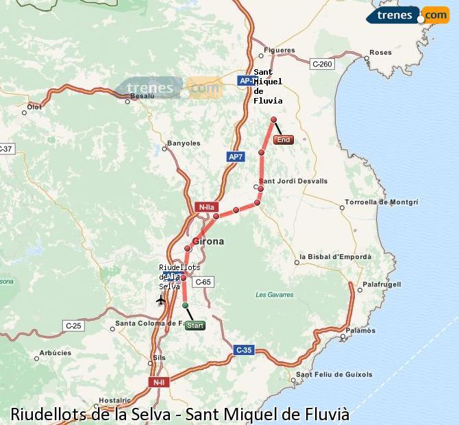 Karte vergrößern Züge Riudellots de la Selva Sant Miquel de Fluvià
