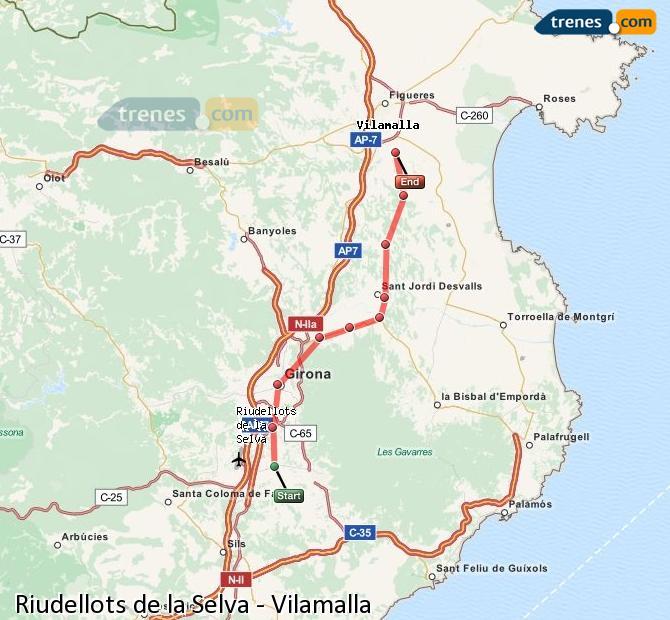 Enlarge map Trains Riudellots de la Selva to Vilamalla
