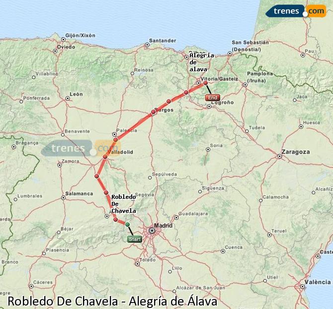 Ingrandisci la mappa Treni Robledo De Chavela Alegría de Álava
