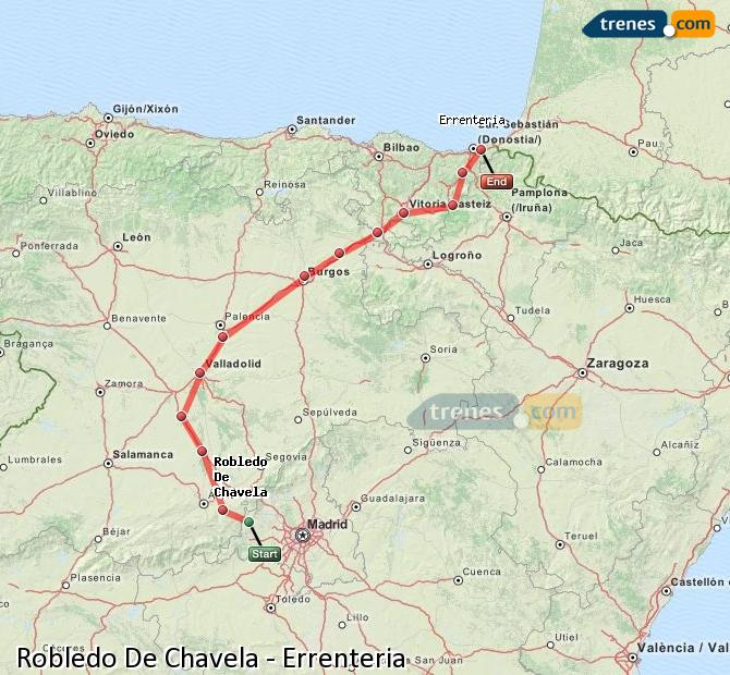 Enlarge map Trains Robledo De Chavela to Errenteria