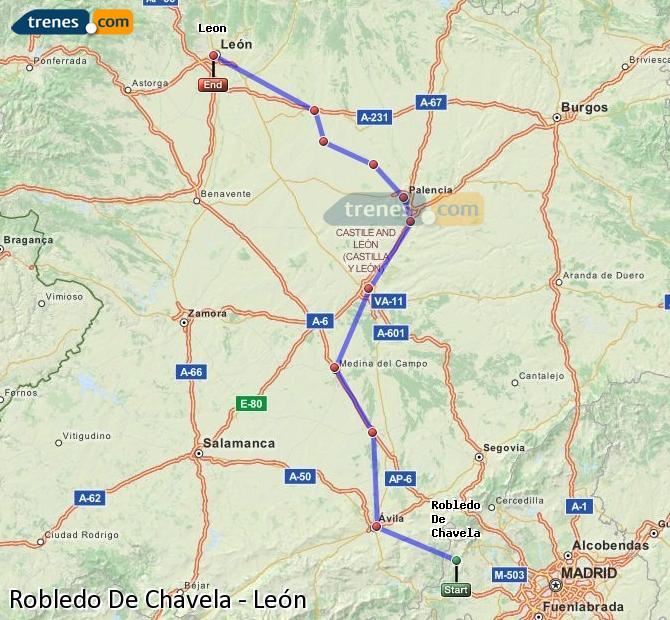 Ampliar mapa Comboios Robledo De Chavela León