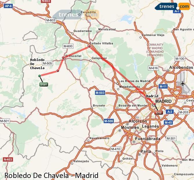 Ampliar mapa Trenes Robledo De Chavela Madrid