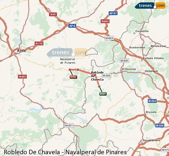 Enlarge map Trains Robledo De Chavela to Navalperal de Pinares