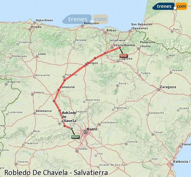 Agrandir la carte Trains Robledo De Chavela Salvatierra