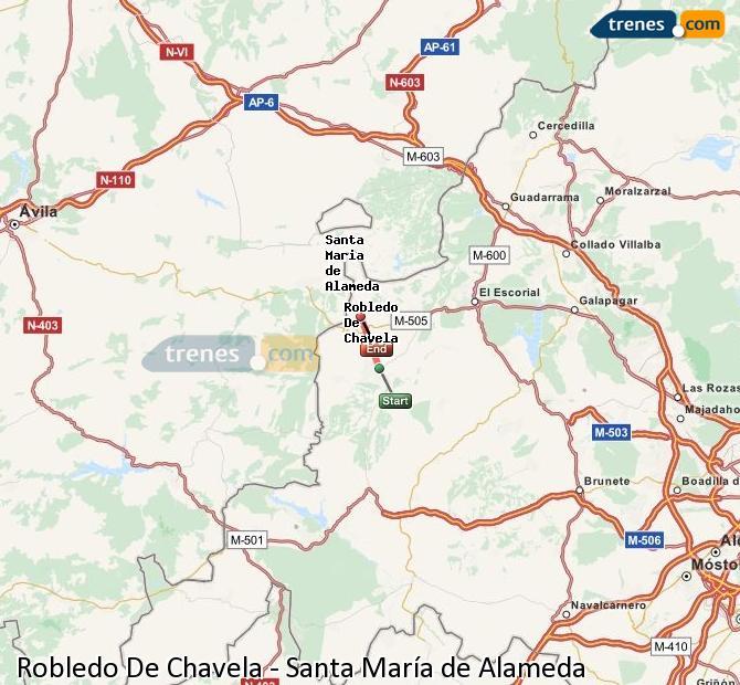 Agrandir la carte Trains Robledo De Chavela Santa María de Alameda