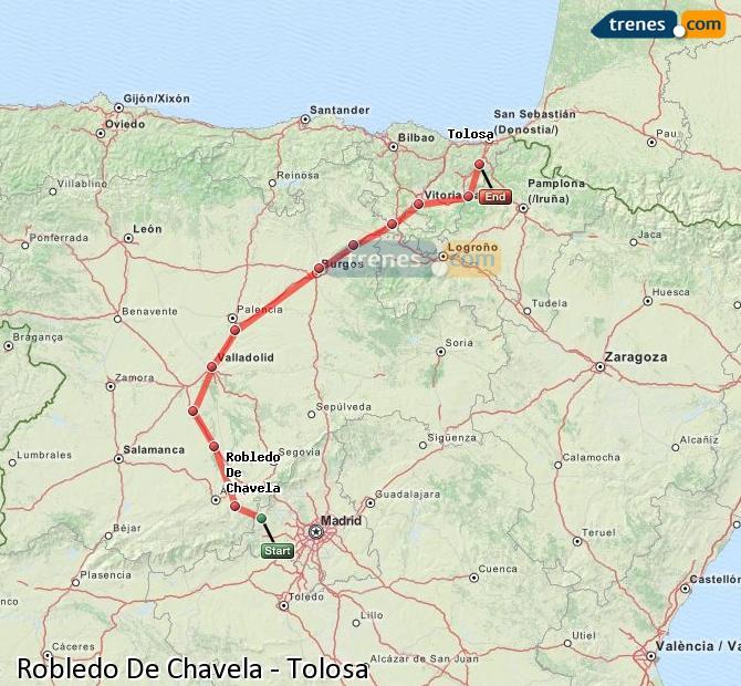 Ampliar mapa Trenes Robledo De Chavela Tolosa