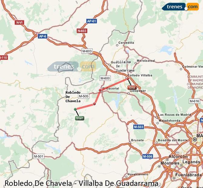 Ampliar mapa Comboios Robledo De Chavela Villalba De Guadarrama