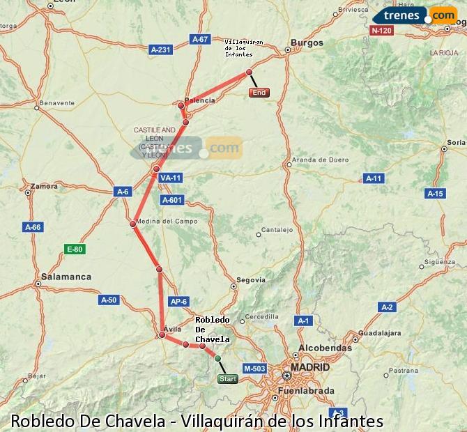 Karte vergrößern Züge Robledo De Chavela Villaquirán de los Infantes