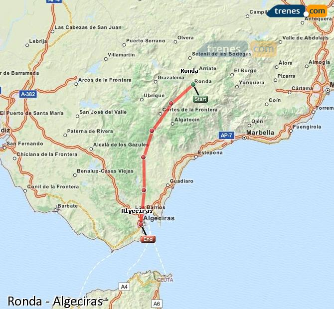 Enlarge map Trains Ronda to Algeciras