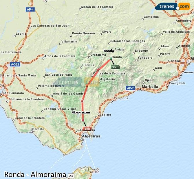 Agrandir la carte Trains Ronda Almoraima