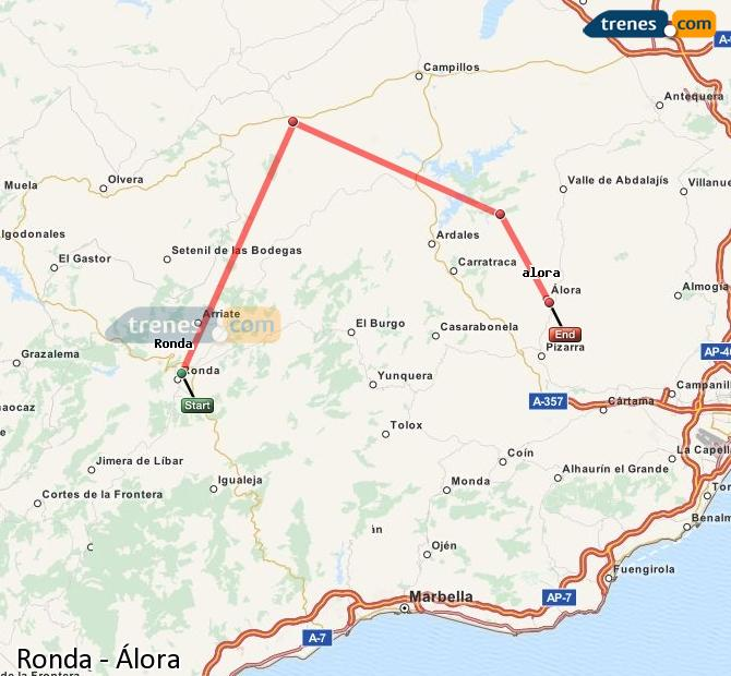 Enlarge map Trains Ronda to Álora