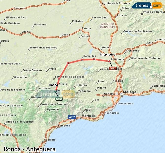 Enlarge map Trains Ronda to Antequera