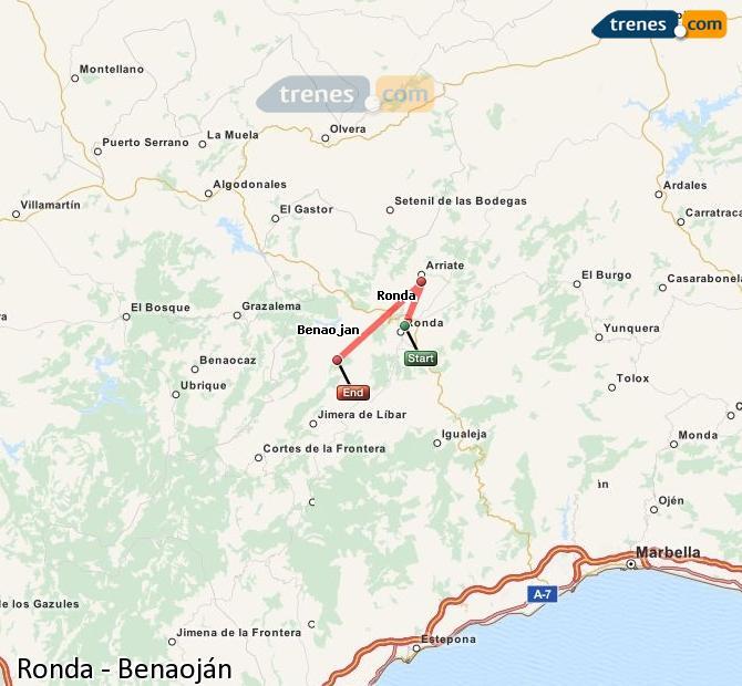 Enlarge map Trains Ronda to Benaojan