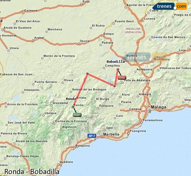 Enlarge map Trains Ronda to Bobadilla