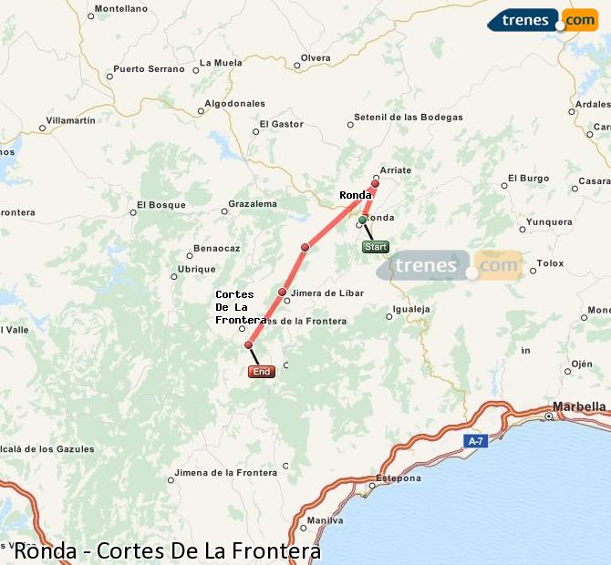 Enlarge map Trains Ronda to Cortes De La Frontera
