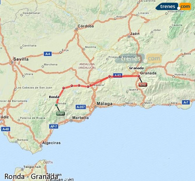Enlarge map Trains Ronda to Granada