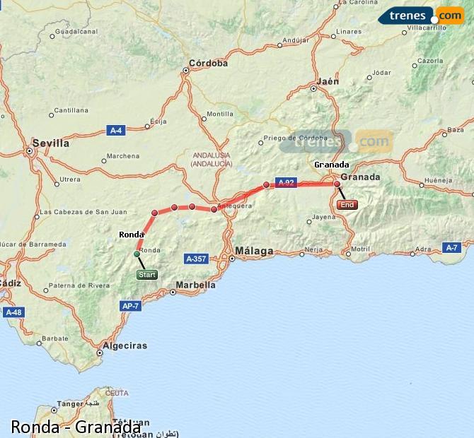 Agrandir la carte Trains Ronda Granada