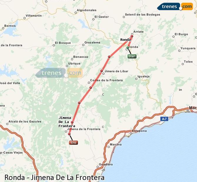Enlarge map Trains Ronda to Jimena De La Frontera