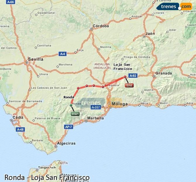 Karte vergrößern Züge Ronda Loja San Francisco