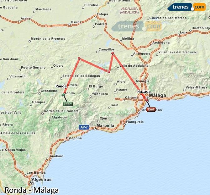 Agrandir la carte Trains Ronda Málaga
