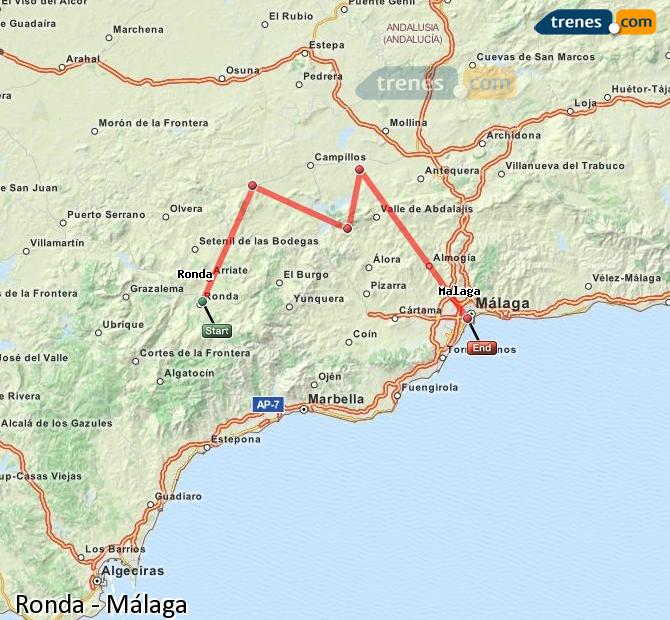 Ampliar mapa Trenes Ronda Málaga