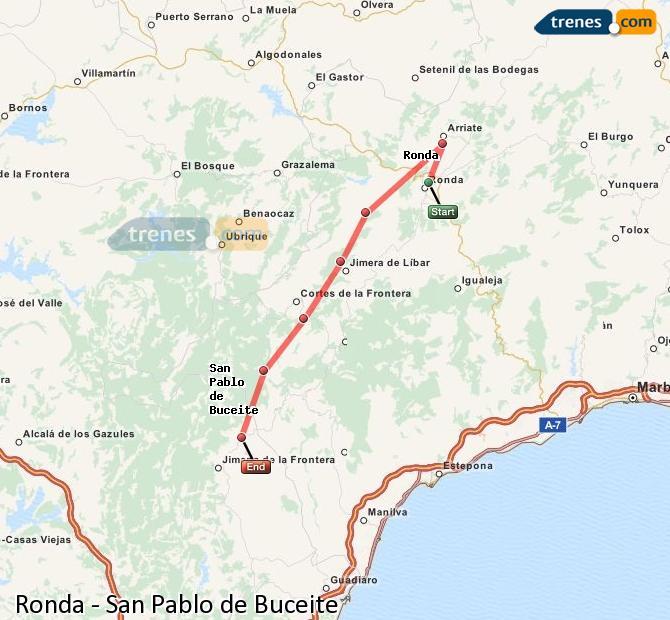 Ampliar mapa Comboios Ronda San Pablo de Buceite
