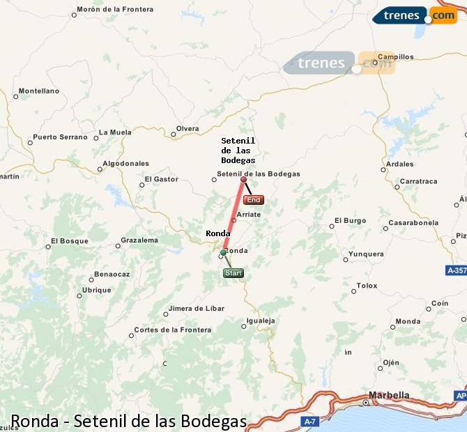Enlarge map Trains Ronda to Setenil de las Bodegas