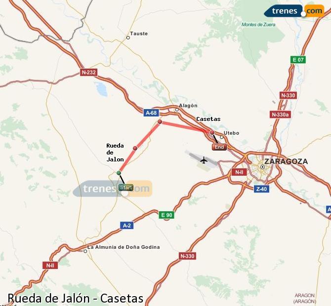 Ampliar mapa Trenes Rueda de Jalón Casetas