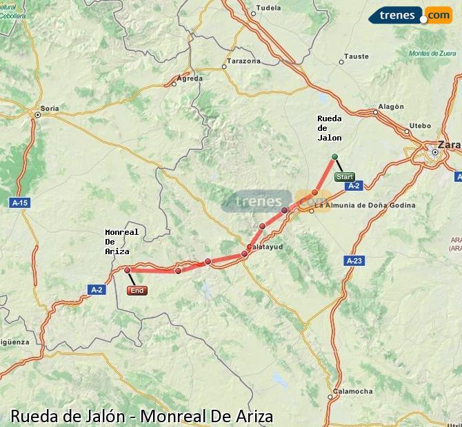 Karte vergrößern Züge Rueda de Jalón Monreal De Ariza