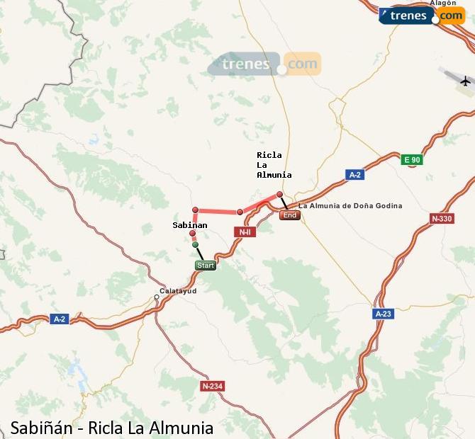 Ingrandisci la mappa Treni Sabiñán Ricla La Almunia