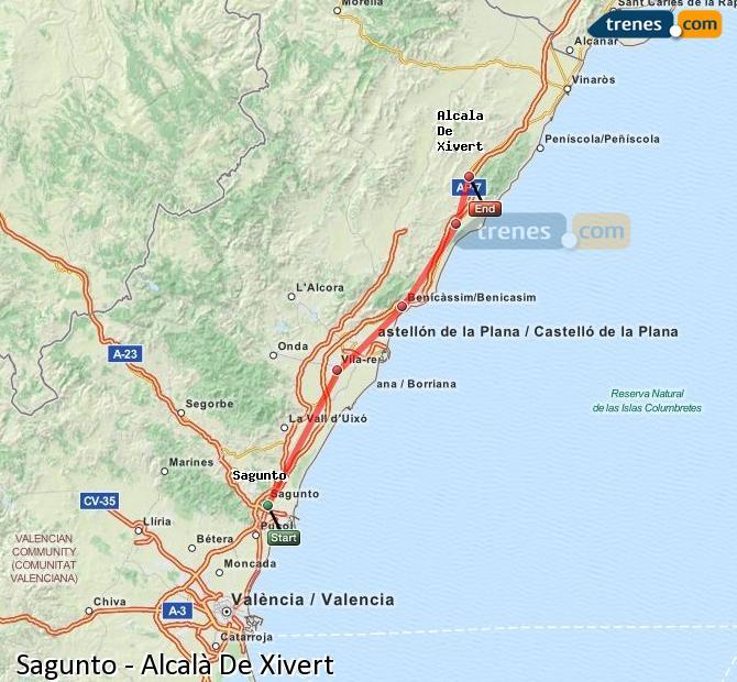 Enlarge map Trains Sagunto to Alcalà De Xivert