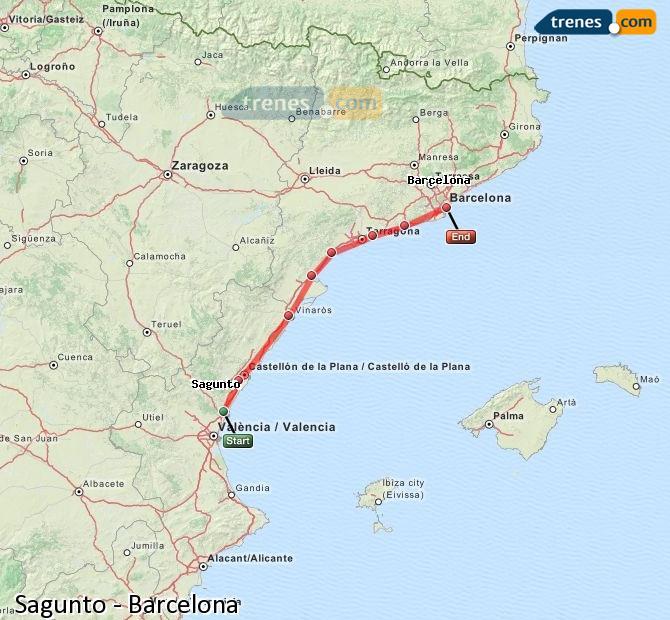 Ingrandisci la mappa Treni Sagunto Barcellona