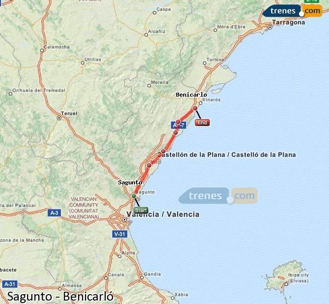 Karte vergrößern Züge Sagunto Benicarló