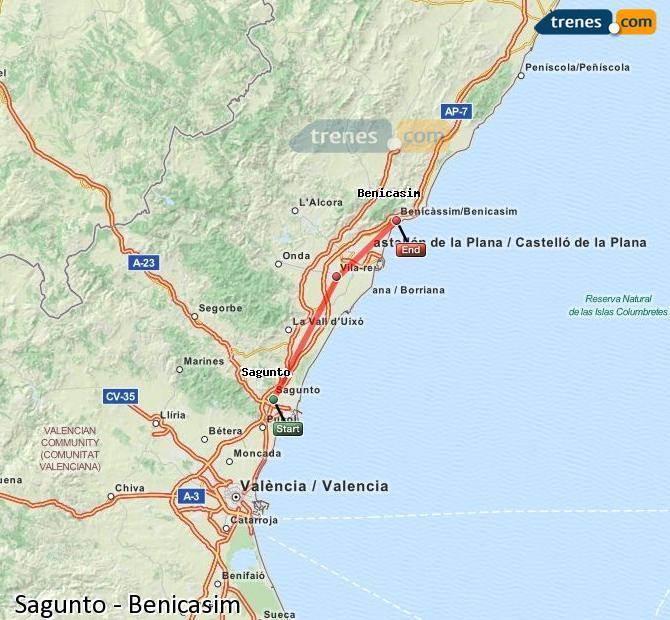 Enlarge map Trains Sagunto to Benicasim