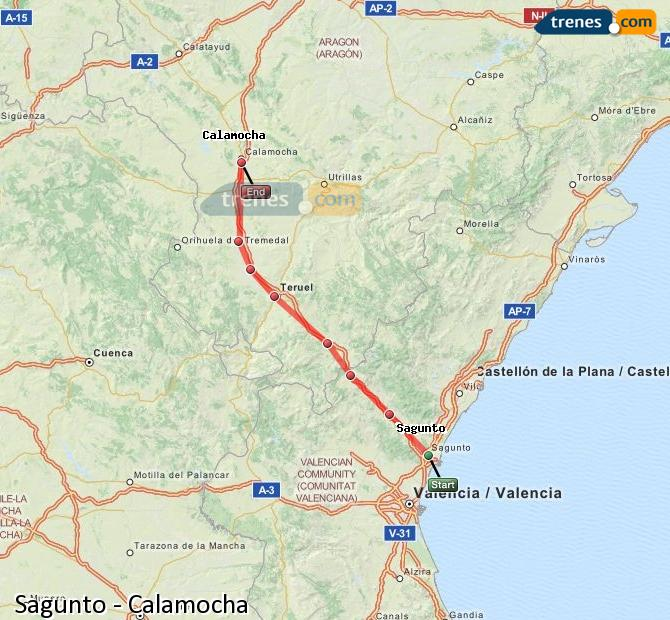 Ampliar mapa Trenes Sagunto Calamocha