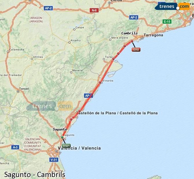 Ampliar mapa Trenes Sagunto Cambrils