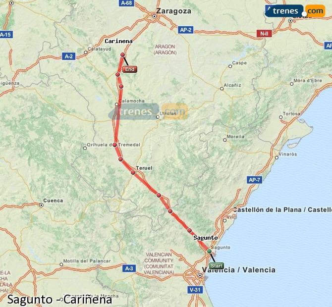 Ampliar mapa Trenes Sagunto Cariñena