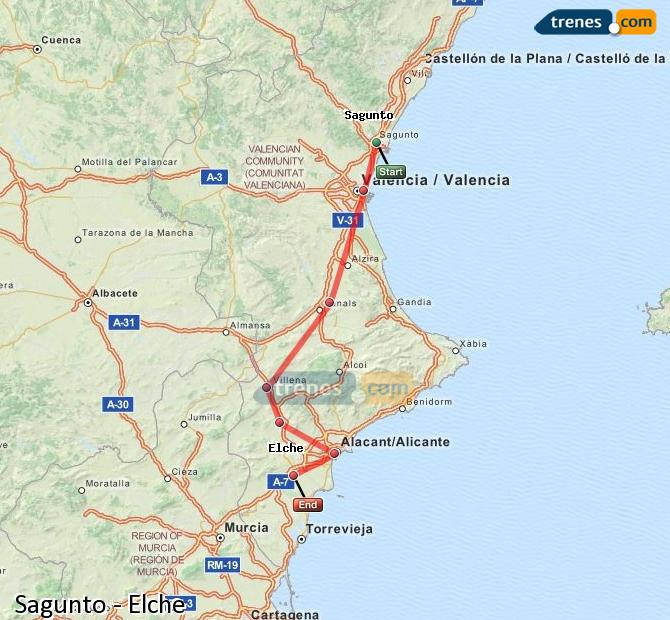 Enlarge map Trains Sagunto to Elche