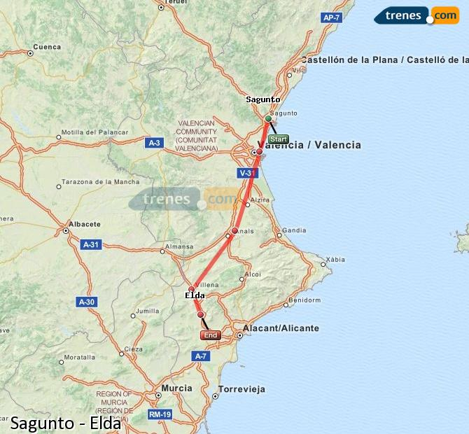 Enlarge map Trains Sagunto to Elda