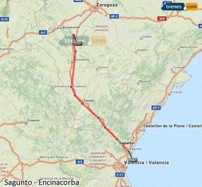Enlarge map Trains Sagunto to Encinacorba