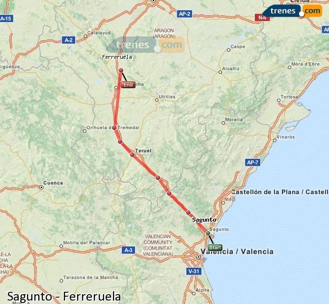 Enlarge map Trains Sagunto to Ferreruela